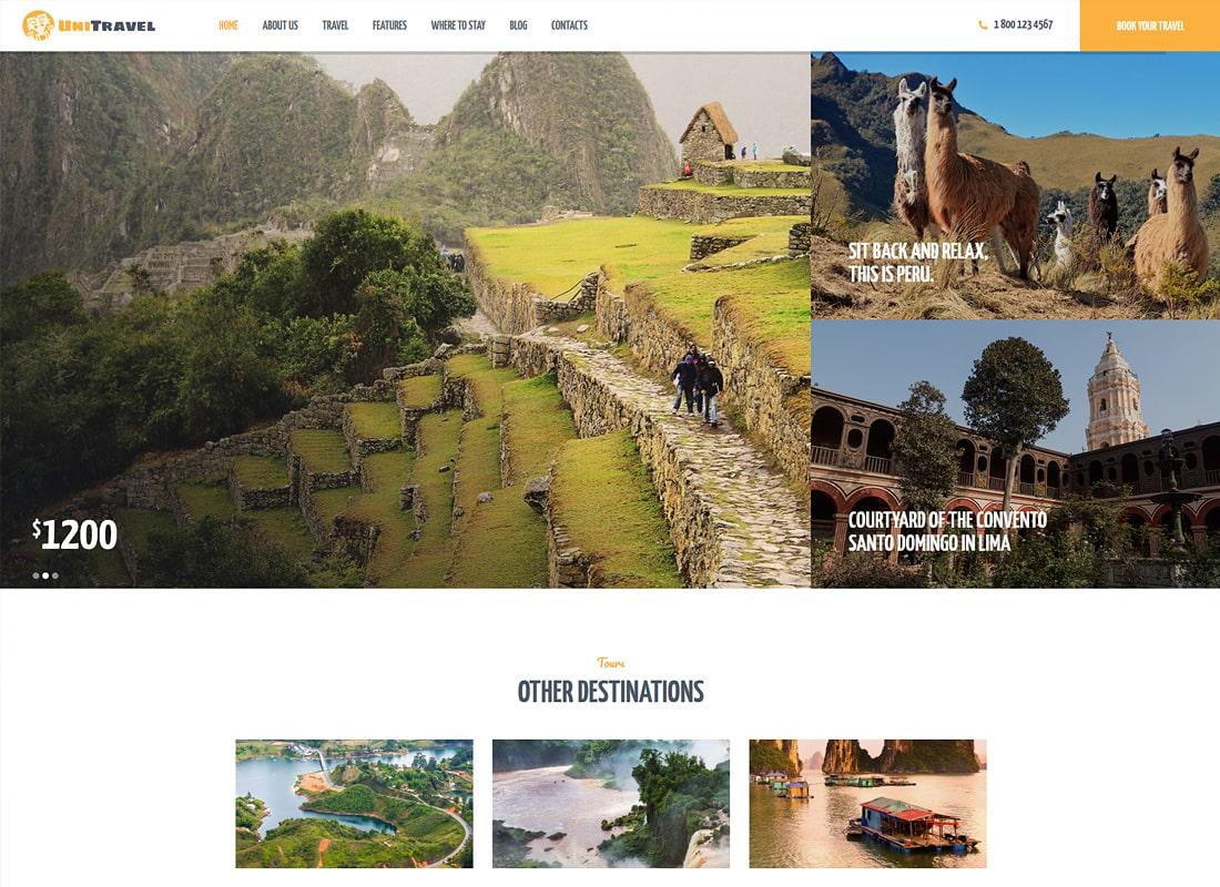 UniTravel | Travel Agency & Tourism Bureau WordPress Theme Website Template