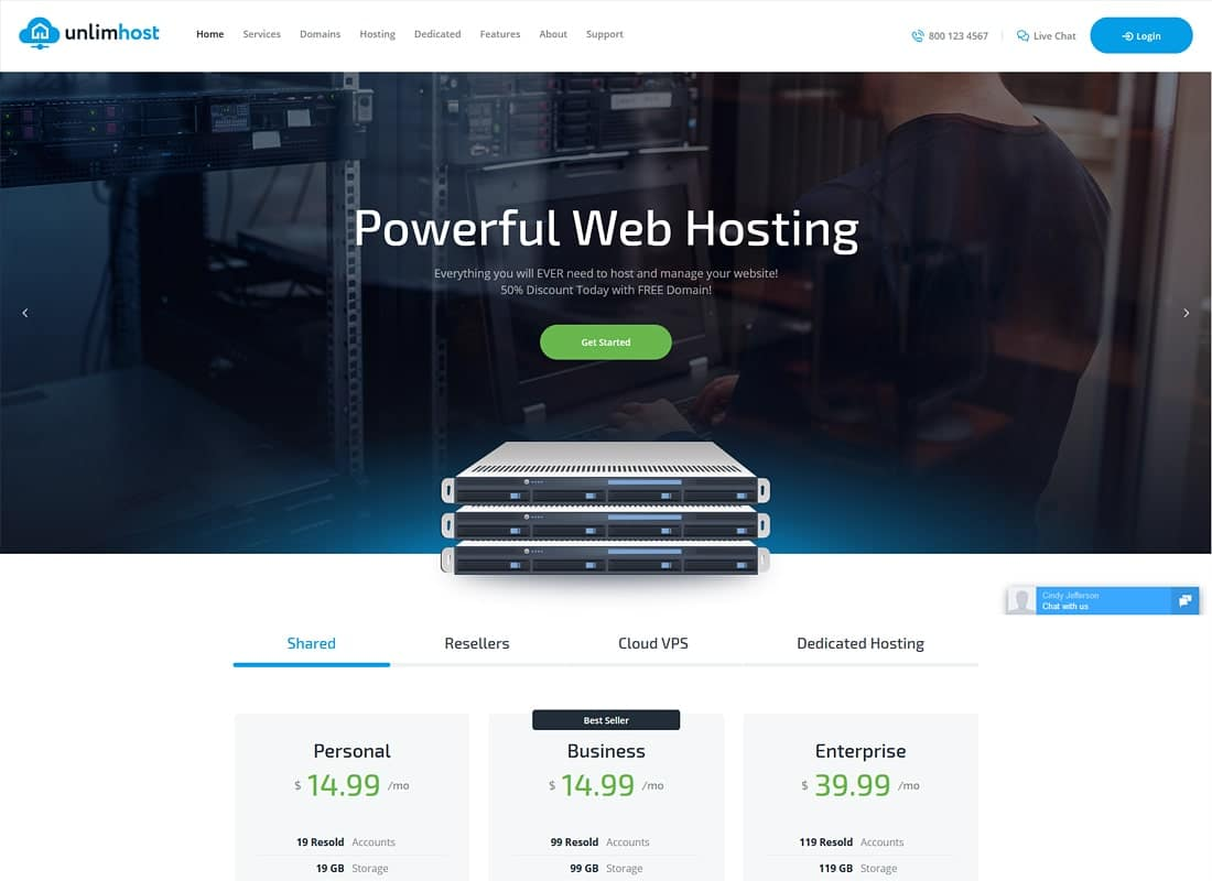 UnlimHost - A Hosting & Technology WordPress Theme Website Template