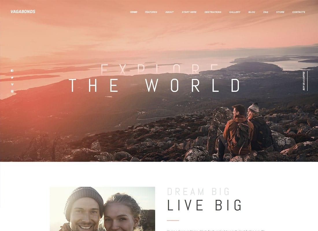 Vagabonds | Personal Travel & Lifestyle Blog WordPress Theme Website Template