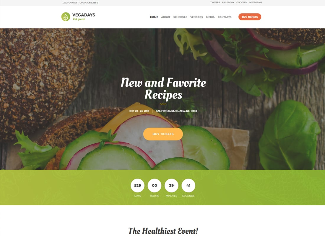 VegaDays - Vegetarian Food Festival & Event WordPress Theme   Website Template