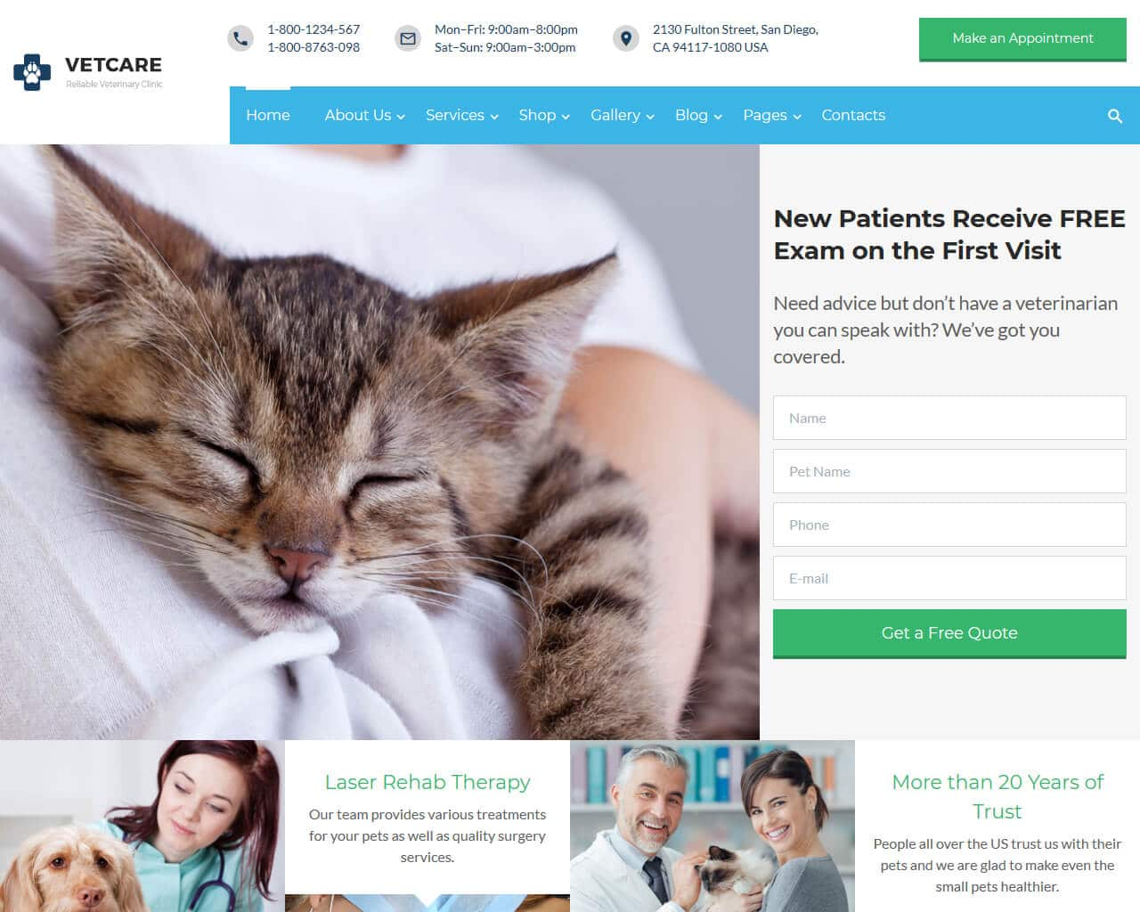 VetCare Website Template