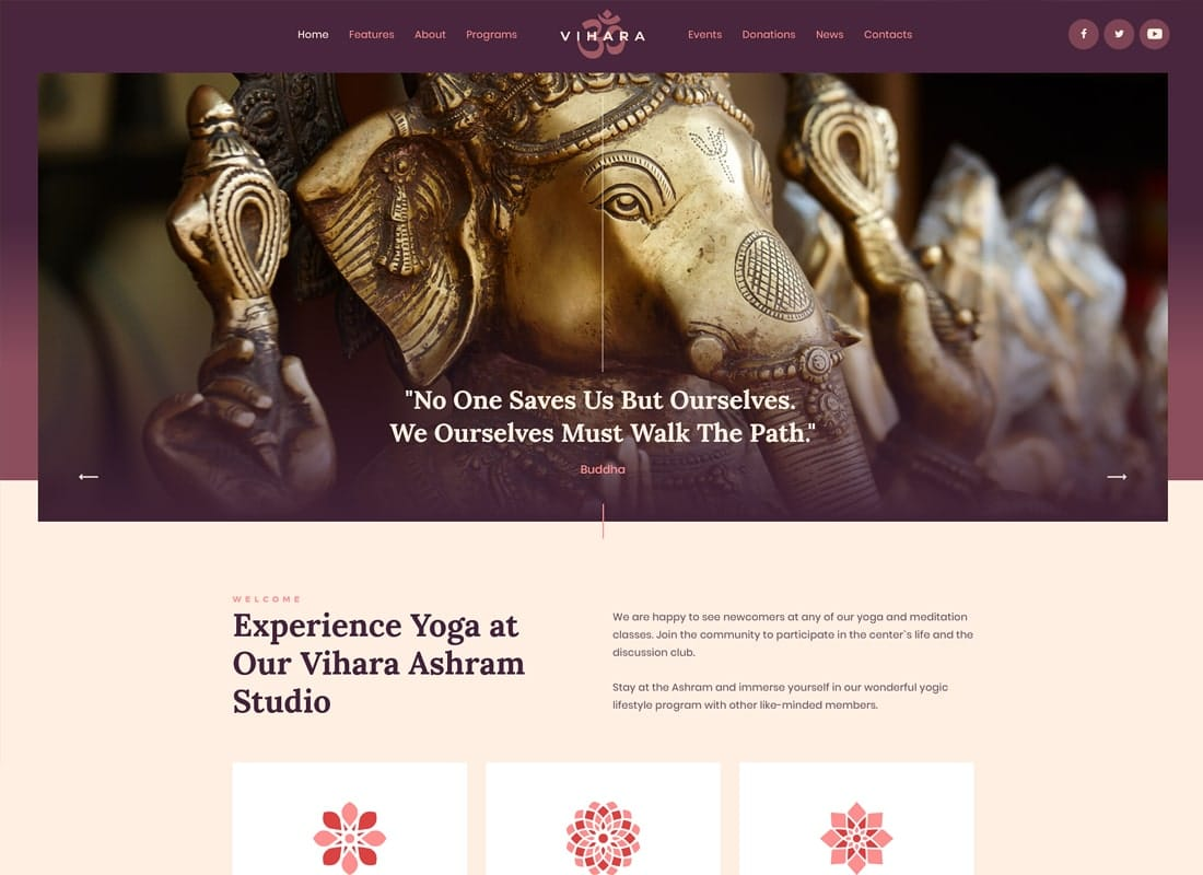 Vihara | Ashram Buddhist Temple WordPress Theme Website Template