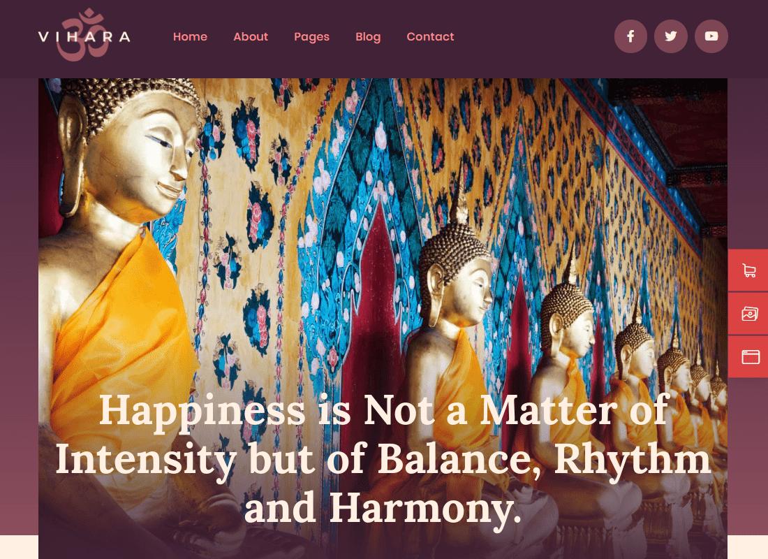 Vihara - Ashram & Buddhist Temple Elementor Template Kit Website Template