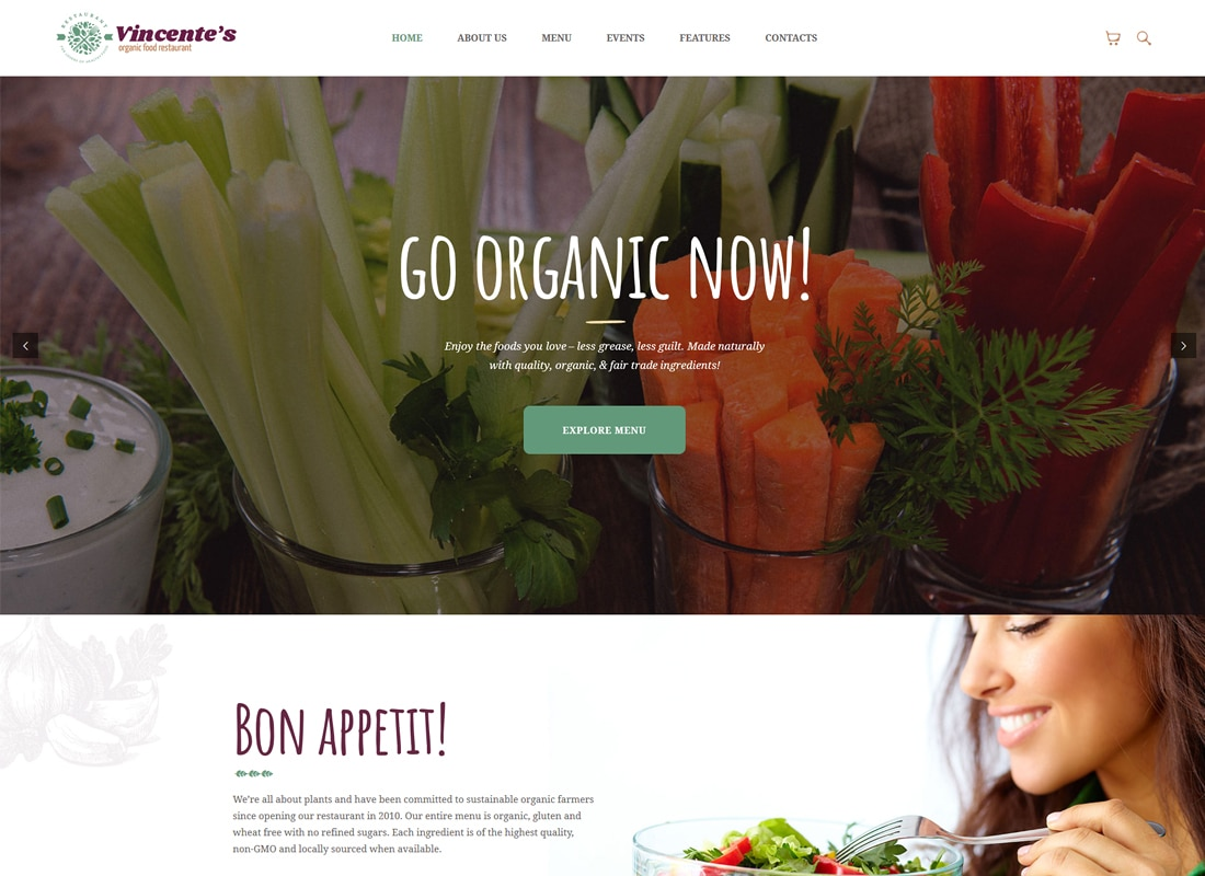 Vincente's - Organic Food Restaurant WordPress Theme Website Template