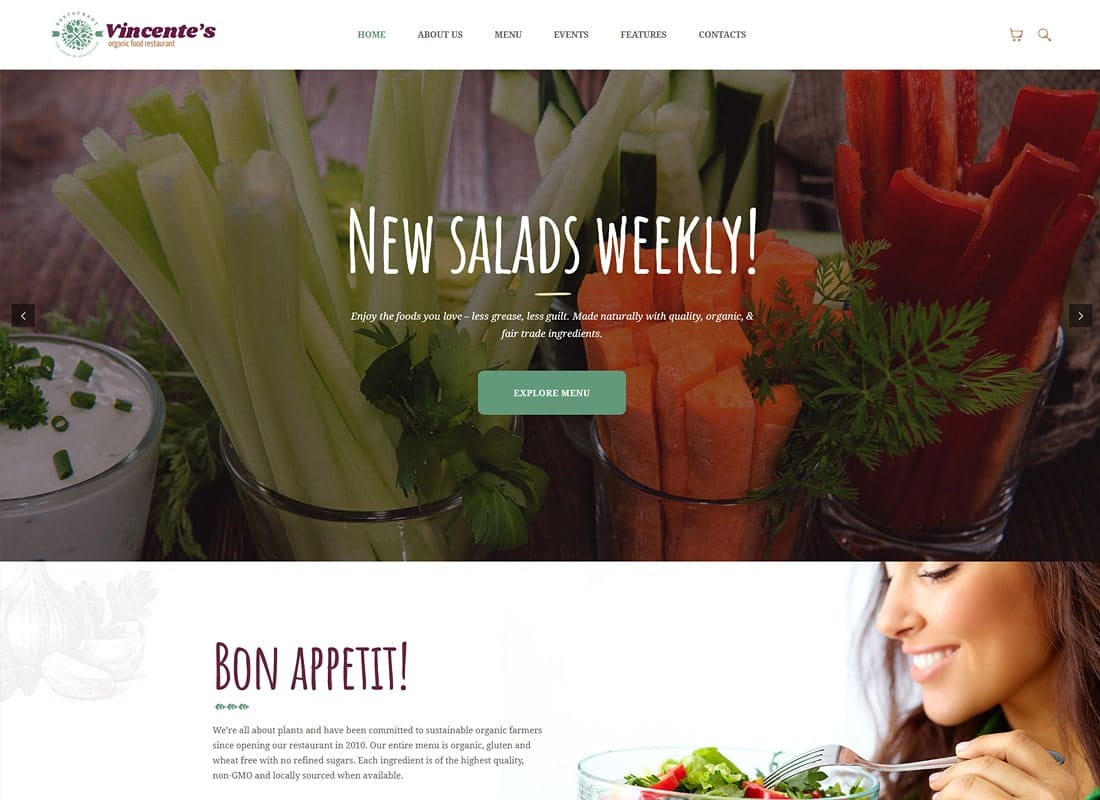 Vincente's | Organic Food Restaurant & Eco Cafe WordPress Theme Website Template