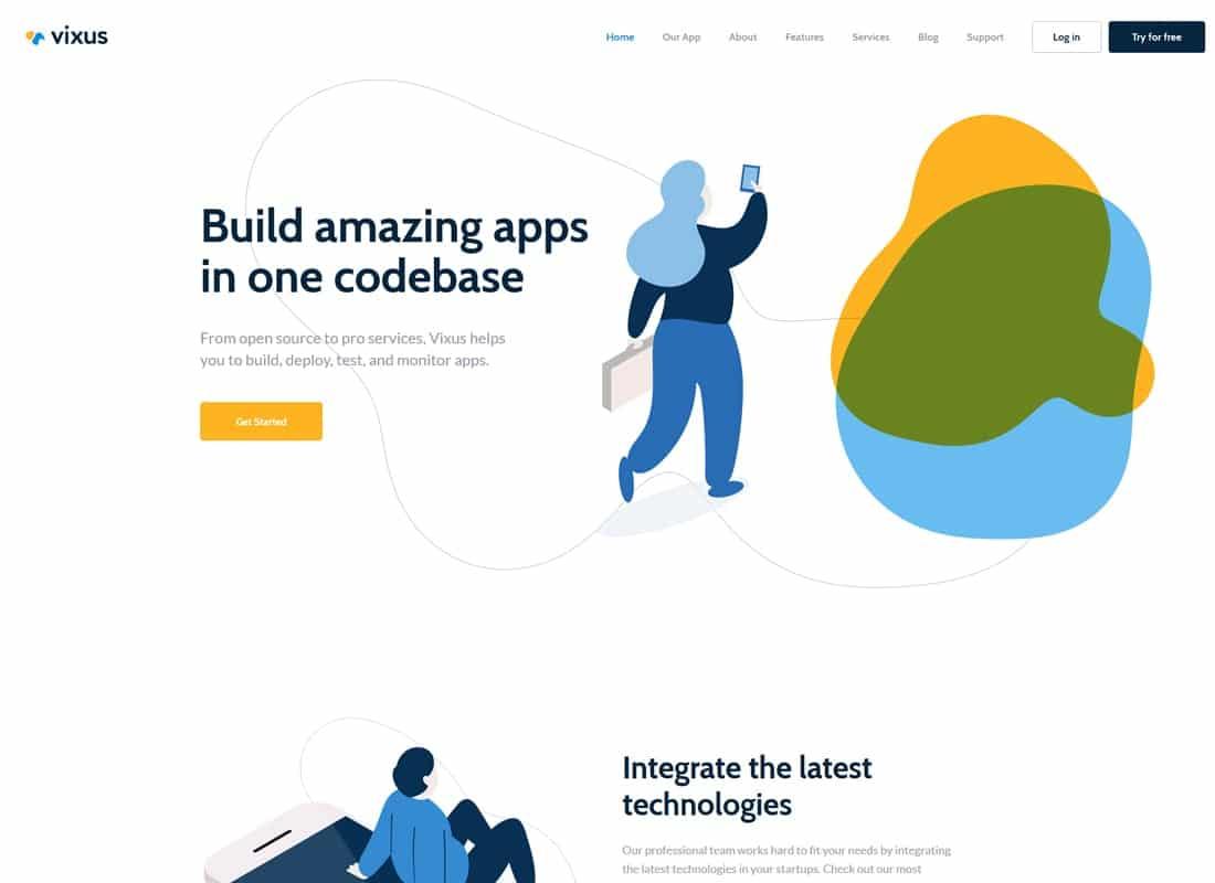 Vixus   Startup & Mobile App WordPress Landing Page Theme Website Template