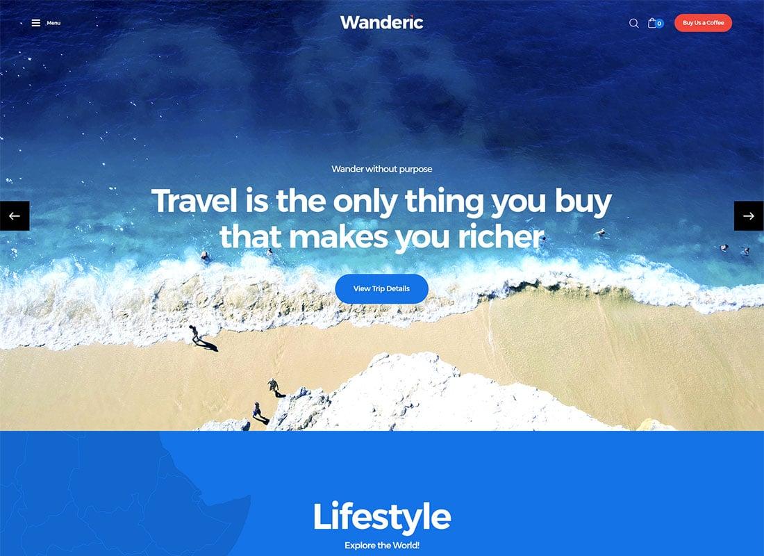 Wanderic - Travel Blog & Lifestyle WordPress Theme Website Template