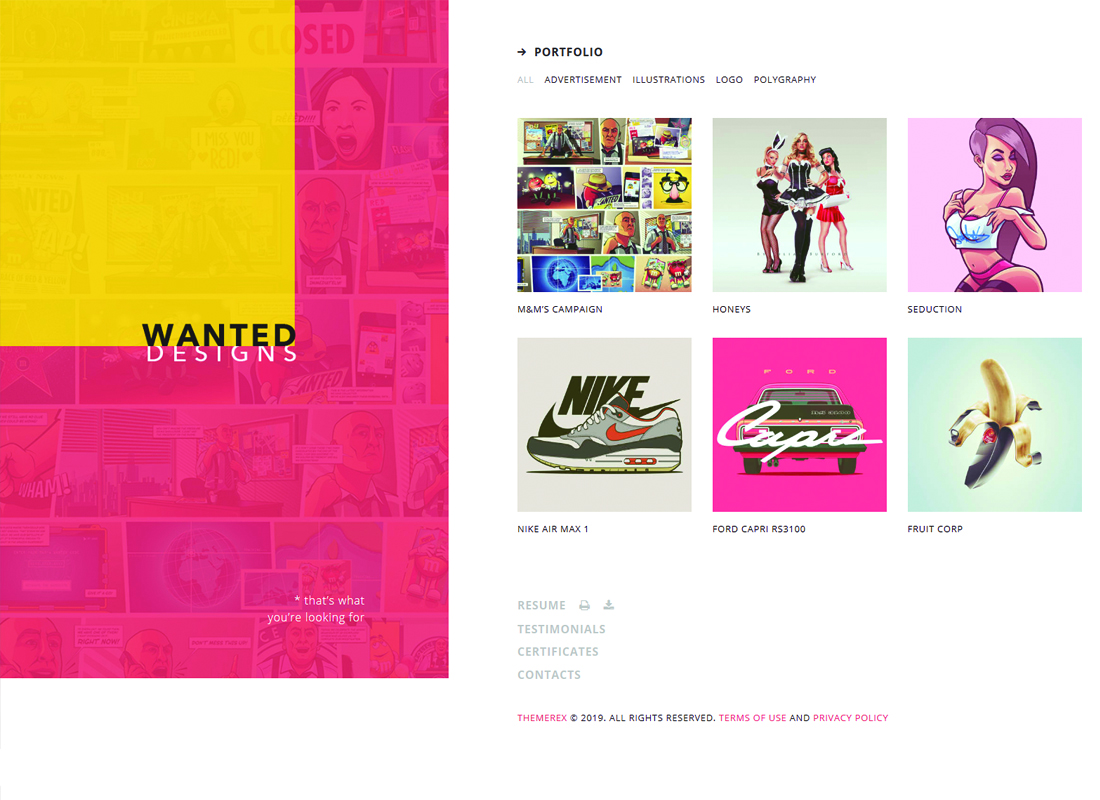 Wanted | A Vibrant Personal Portfolio, Blog and CV WordPress Theme Website Template