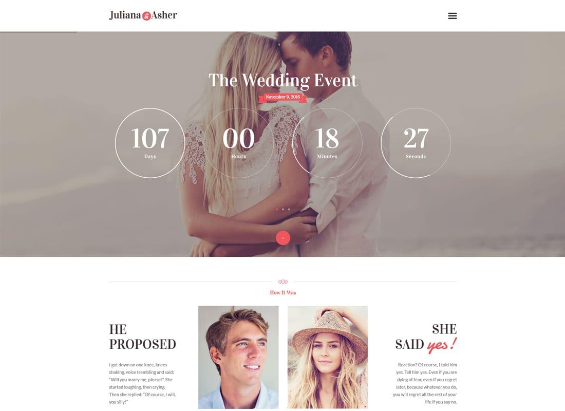 Wedding Day - Event WordPress Theme Website Template