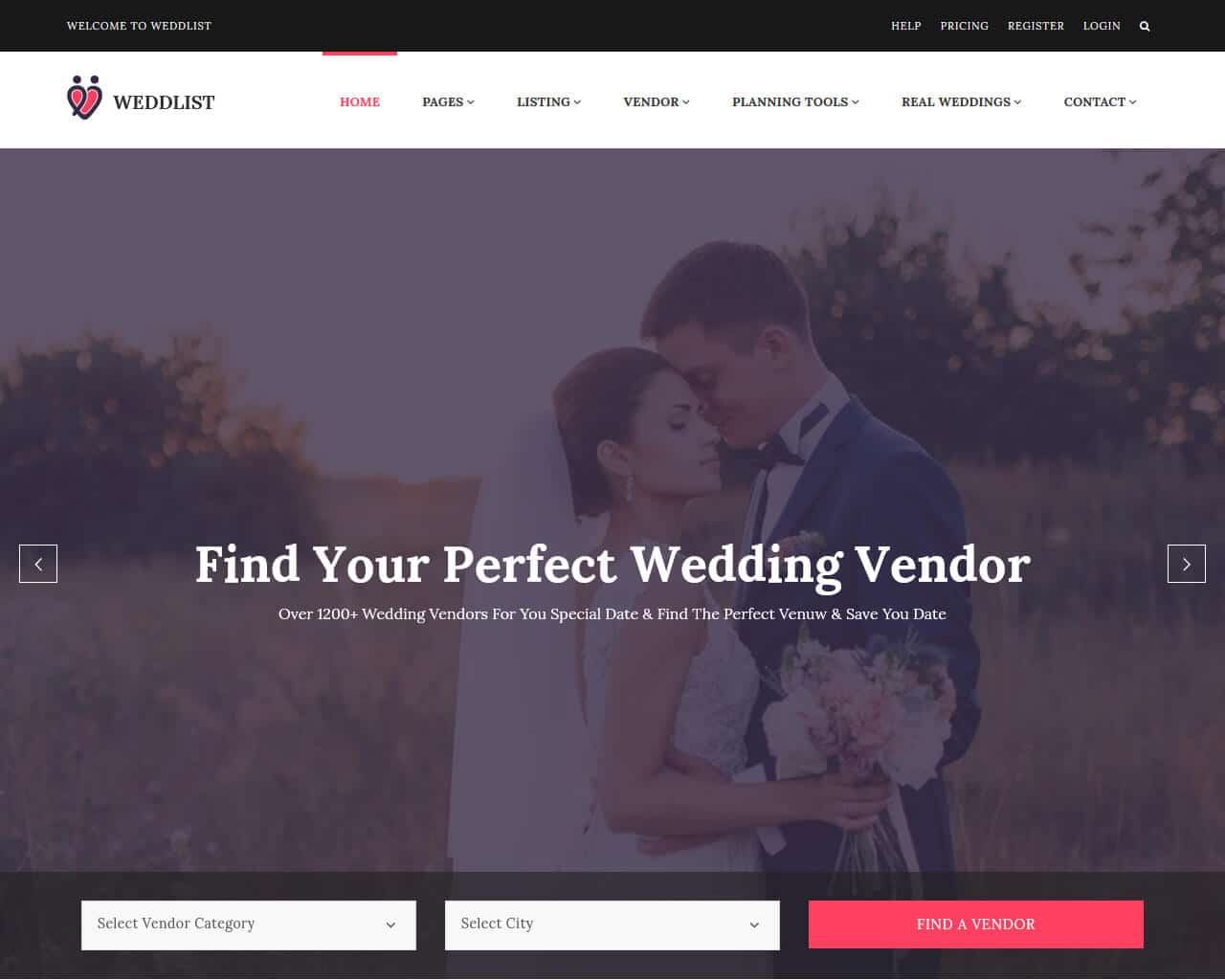 Weddlist Website Template