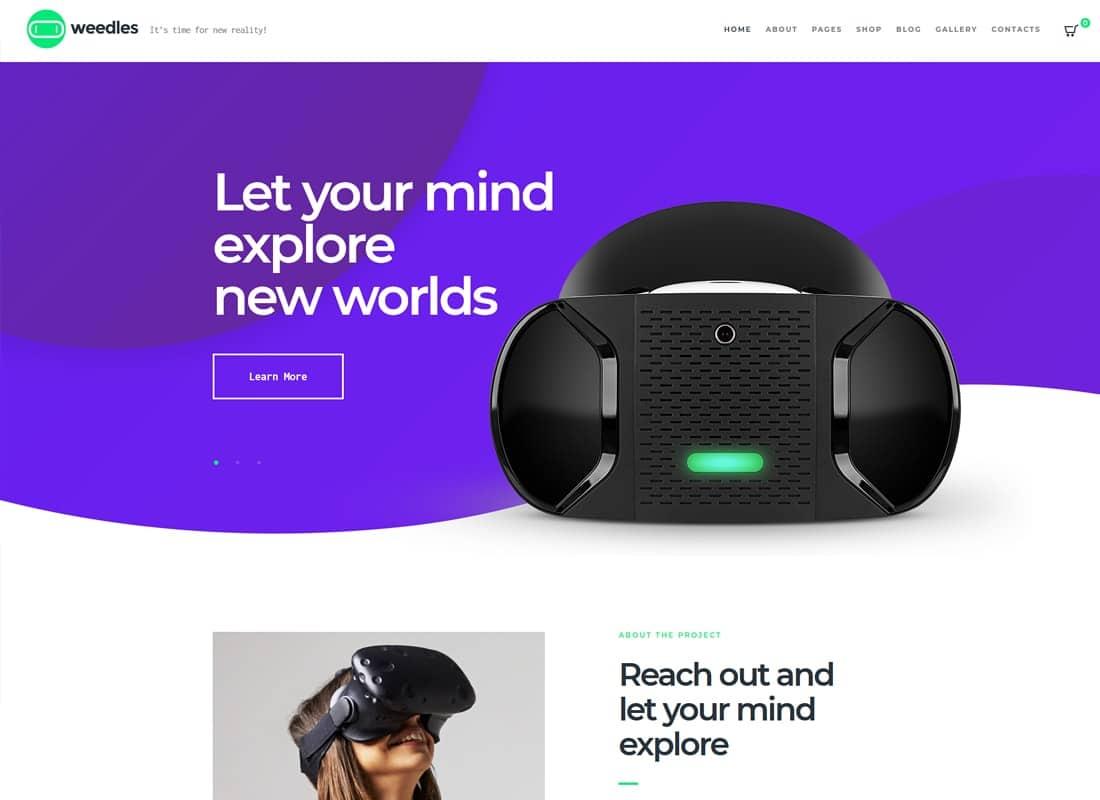 Weedles   Virtual Reality Landing Page & Store WordPress Theme Website Template