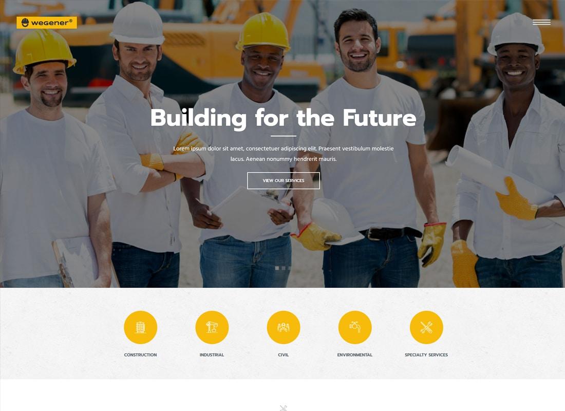 Wegener | Construction & Engineering WordPress Theme Website Template