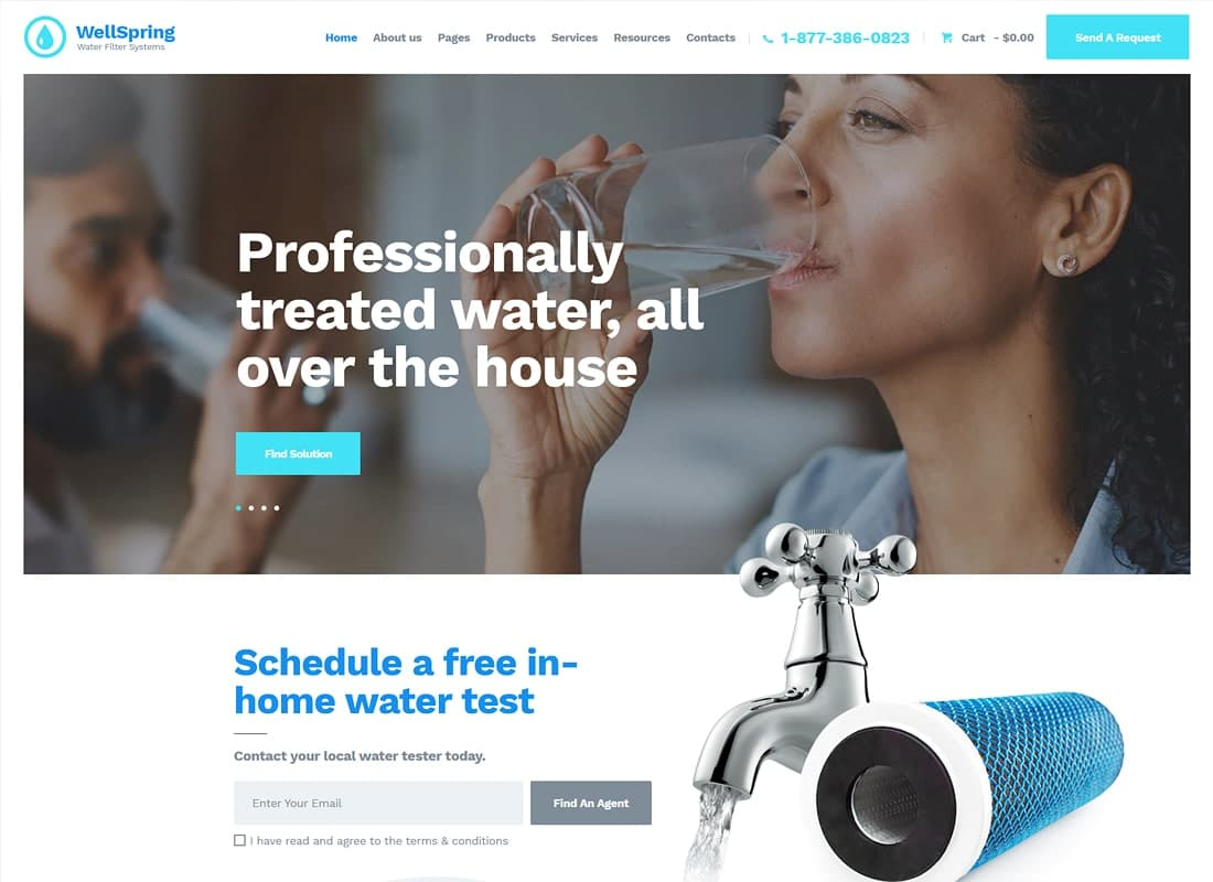WellSpring | Aqua Filters & Drinking Water Delivery WordPress Theme Website Template