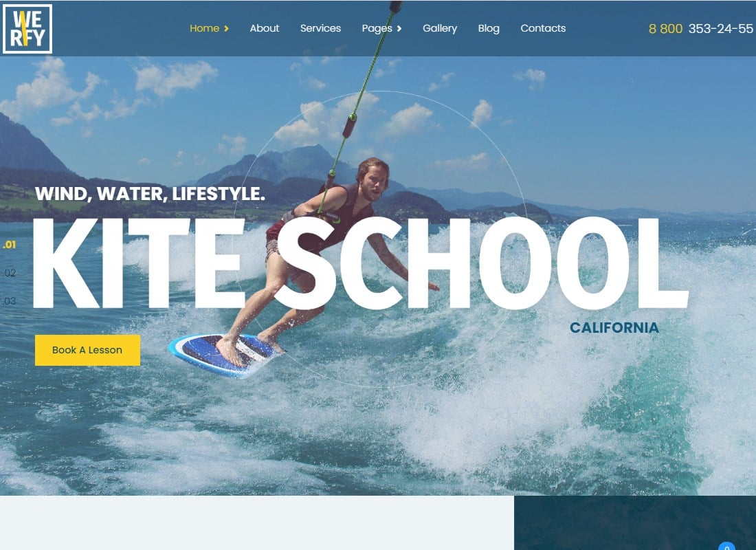 Werfy - Surfing & Water Sports WordPress theme Website Template
