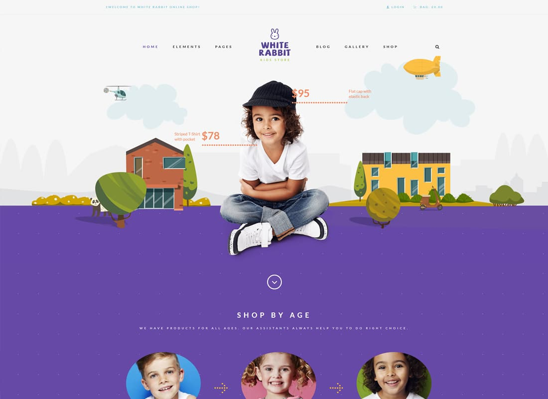 White Rabbit - Kids Toys & Children Clothing Store Website Template