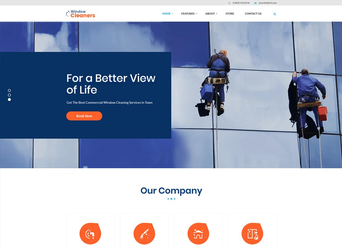 AC Services | A Window Cleaning, Air Conditioning and Heating Services WordPress Theme Website Template