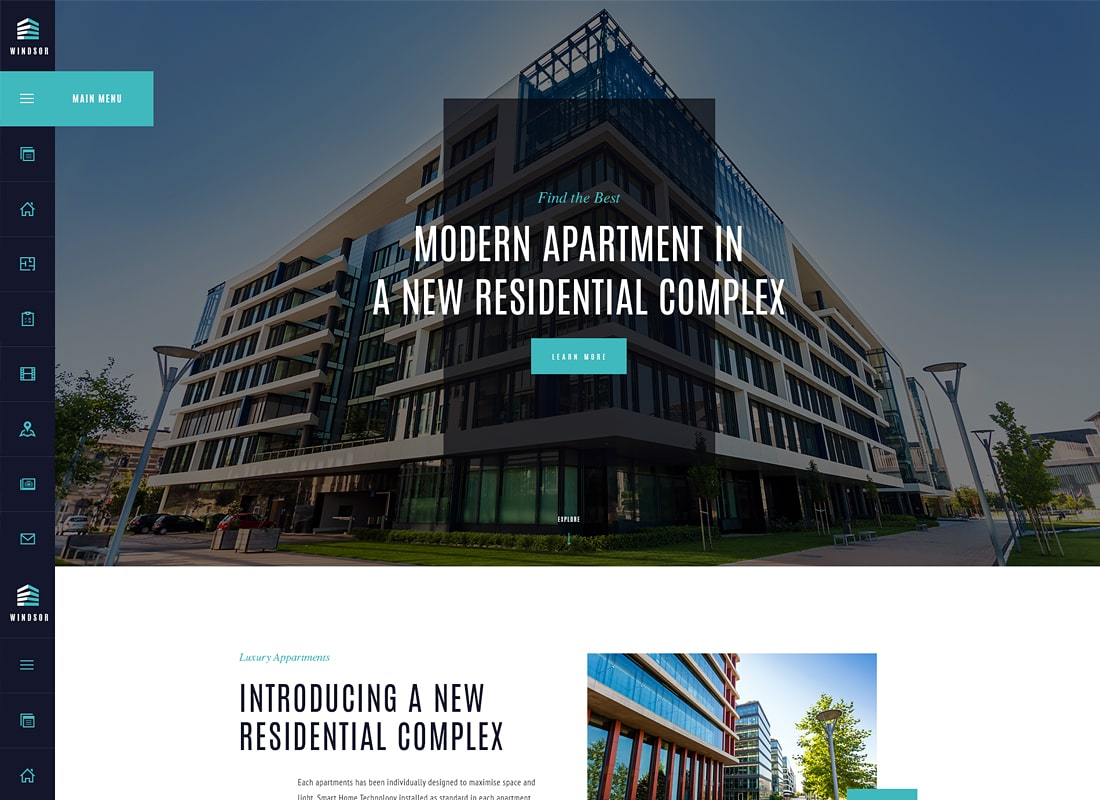 Windsor - Apartment Complex / Single Property WordPress Theme Website Template