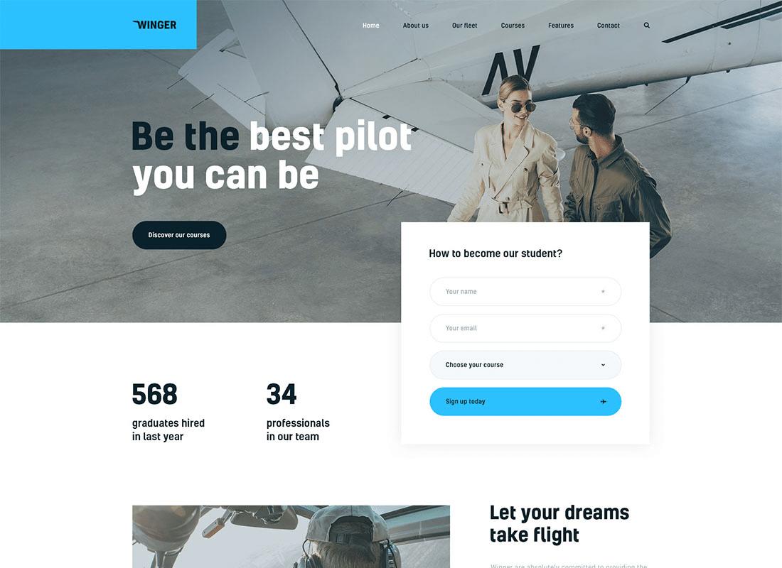 Winger - Aviation & Flight School WordPress Theme Website Template