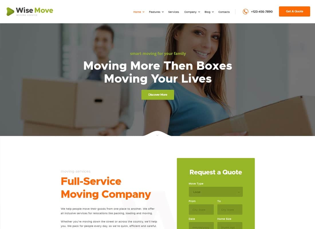 Wise Move | Relocation and Storage Services WordPress Theme Website Template