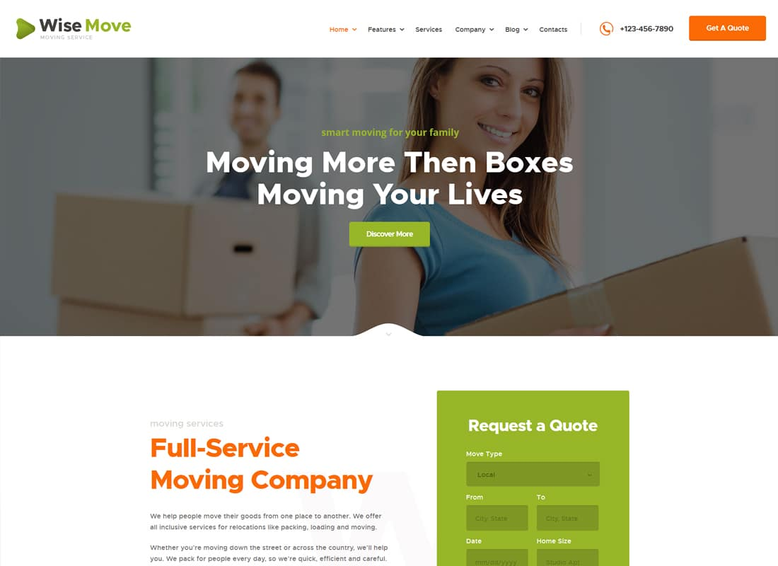 Wise Move - Moving and Storage Services WordPress Theme Website Template