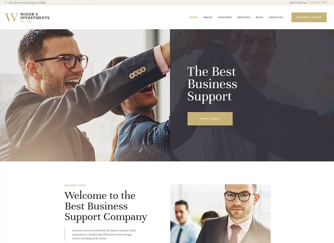 Wizor's   Investments & Business Consulting WordPress Theme Website Template