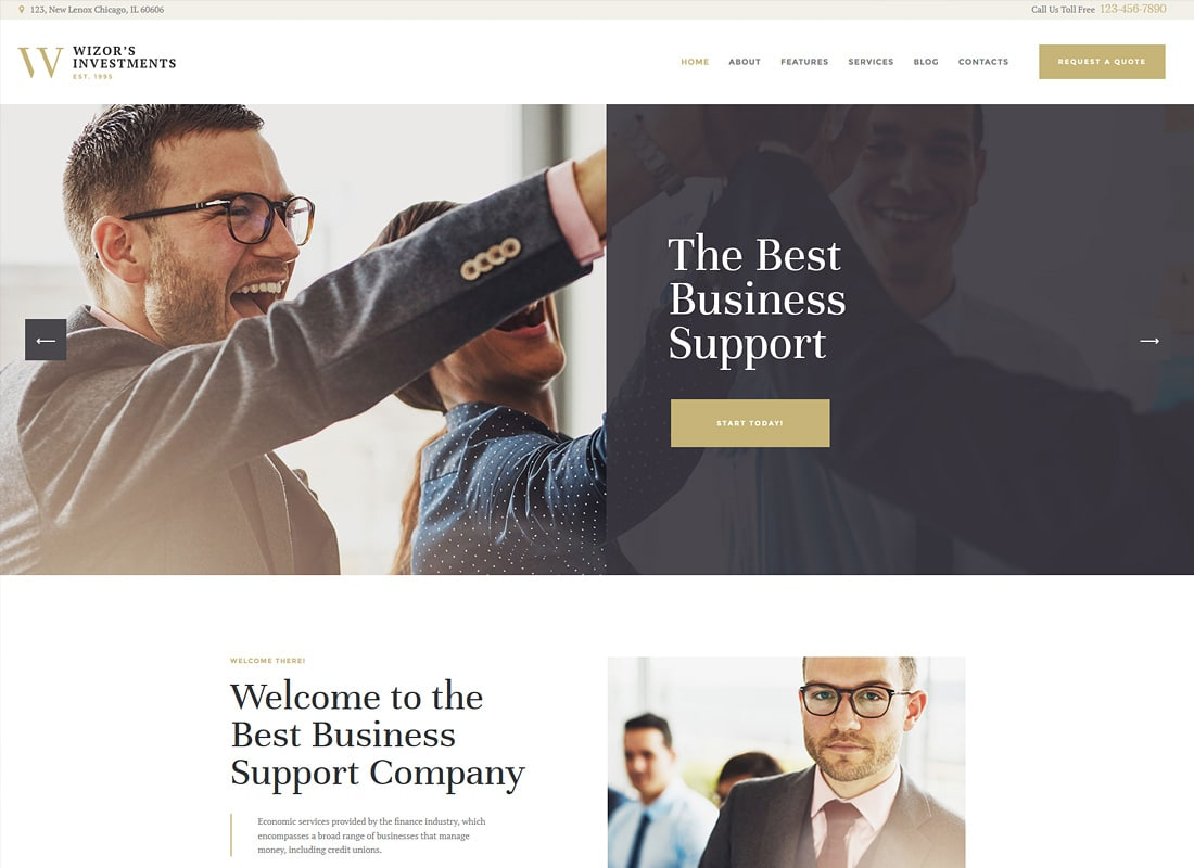 Wizor's | Investments & Business Consulting Insurance WordPress Theme Website Template