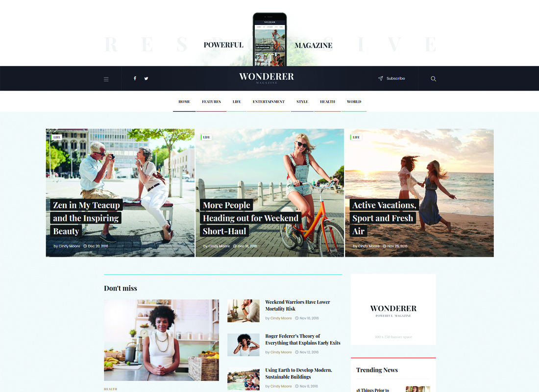 Wonderer | Personal Blog & Review Magazine WordPress Theme Website Template