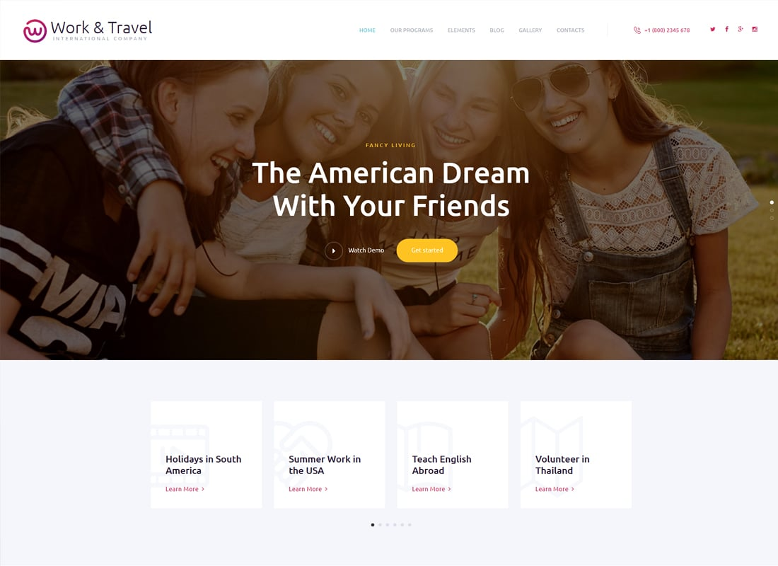 Work & Travel Company & Youth Programs WordPress Theme   Website Template
