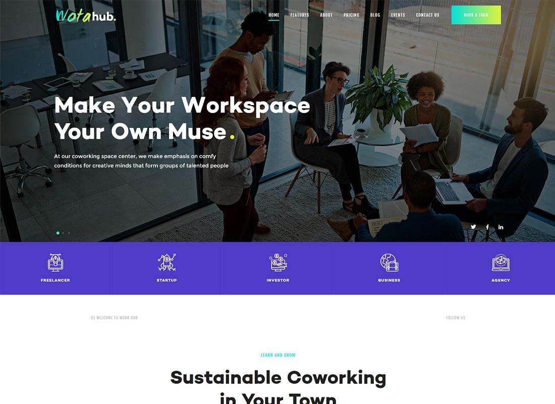 WotaHub | Coworking Space WordPress Theme Website Template