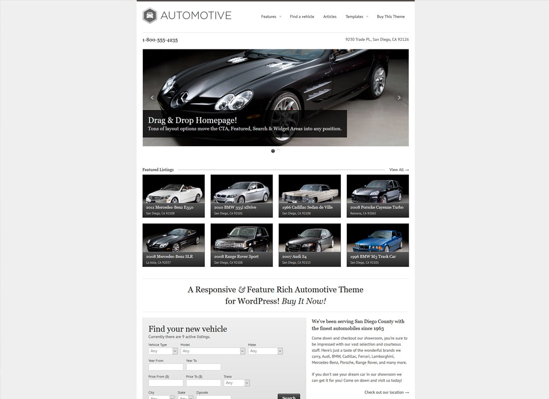 WP Pro Automotive Responsive WordPress Theme   Website Template