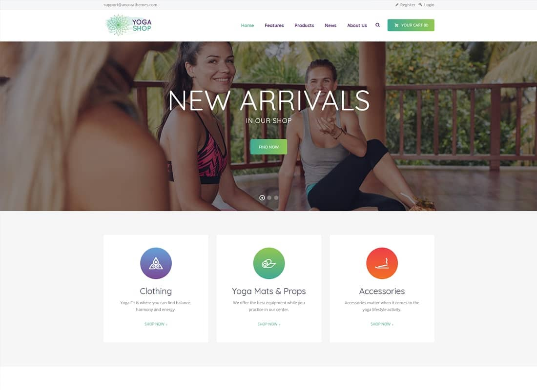 Yoga Shop - A Modern Sport Clothing & Equipment Shop WordPress Theme Website Template
