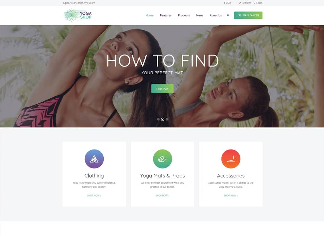 Yoga Shop | A Modern Sport Clothing & Equipment Shop WordPress Theme Website Template