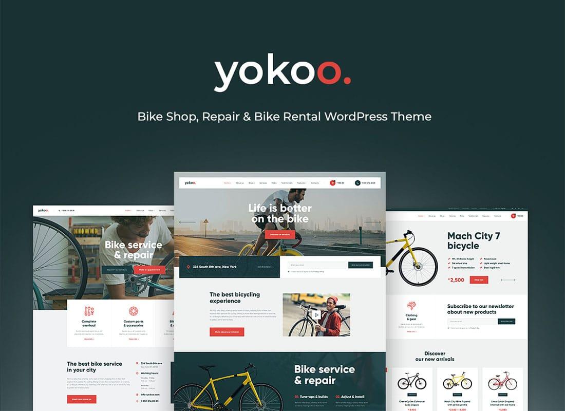Yokoo - Bike Shop & Bicycle Rental WordPress Theme Website Template