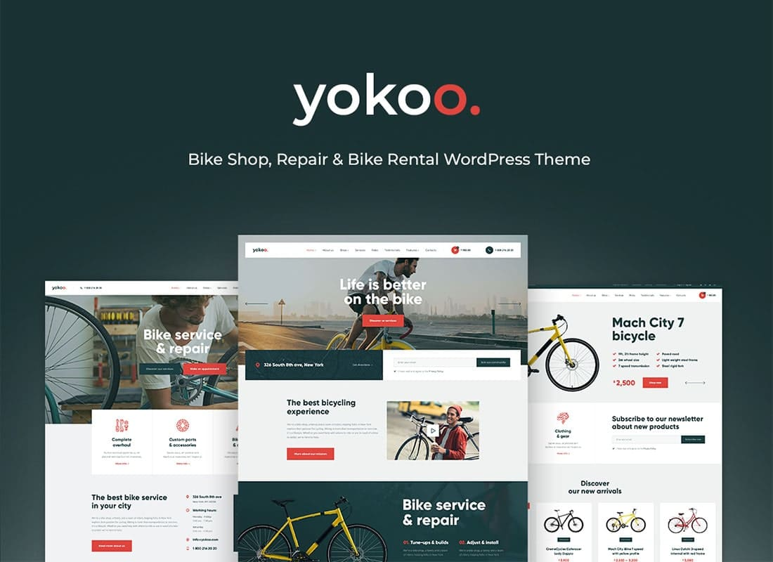 Yokoo - Bike Shop & Rental WordPress Theme Website Template