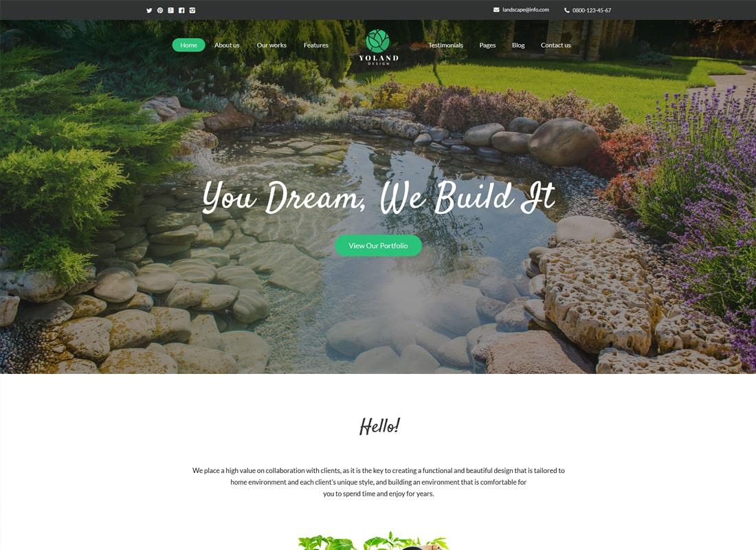 Yoland   Landscape Design & Garden Accessories Store WordPress Theme Website Template