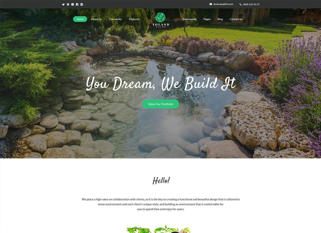 Yoland | Landscape Design & Garden Accessories Store WordPress Theme Website Template