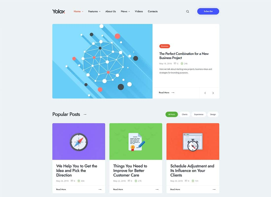 Yolox | Modern WordPress Blog Theme for Business & Startup Website Template