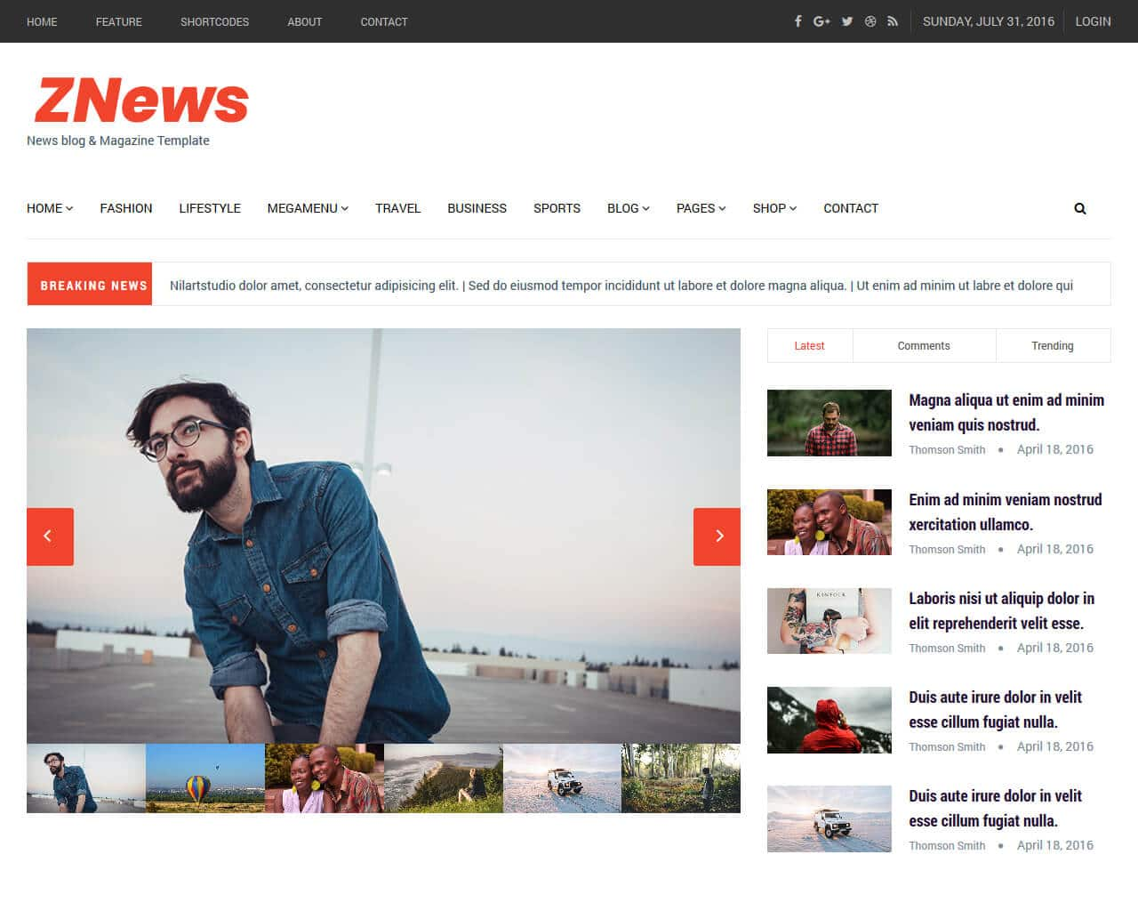 ZNews Website Template